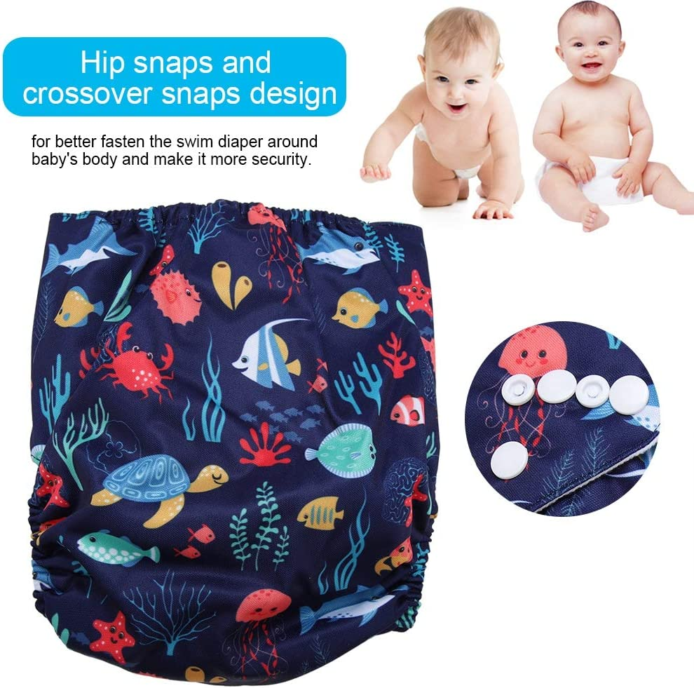 Swim Diaper Baby Infant Snap assorbente lavabile Costume da bagno Pannolino Riutilizzabile Swim Nappy per le ragazze ragazzi Lezioni di nuoto #1 Taglia unica Tutto