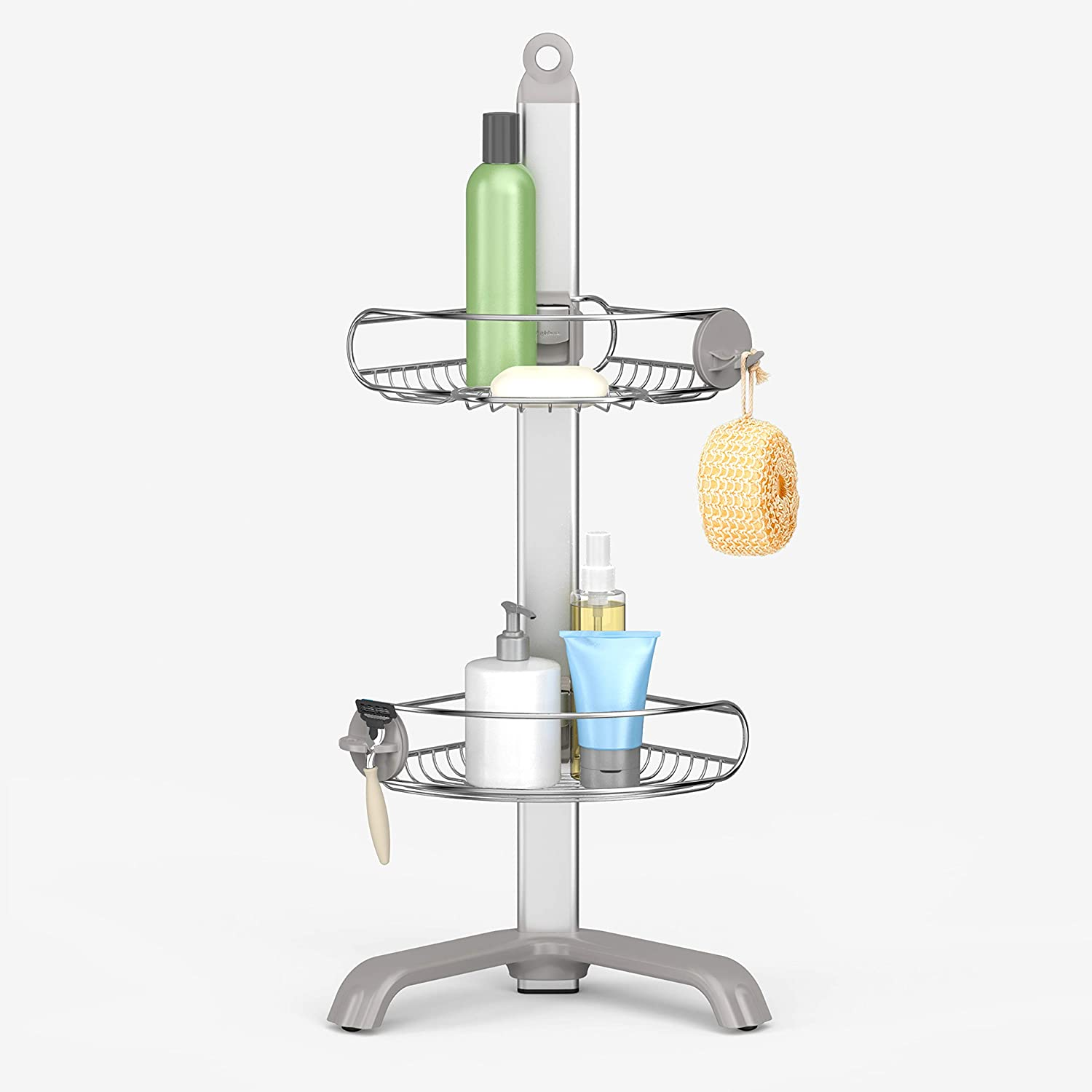 Amazon Com Simplehuman Corner Shower Caddy Stainless Steel And Anodized Aluminum Home Kitchen