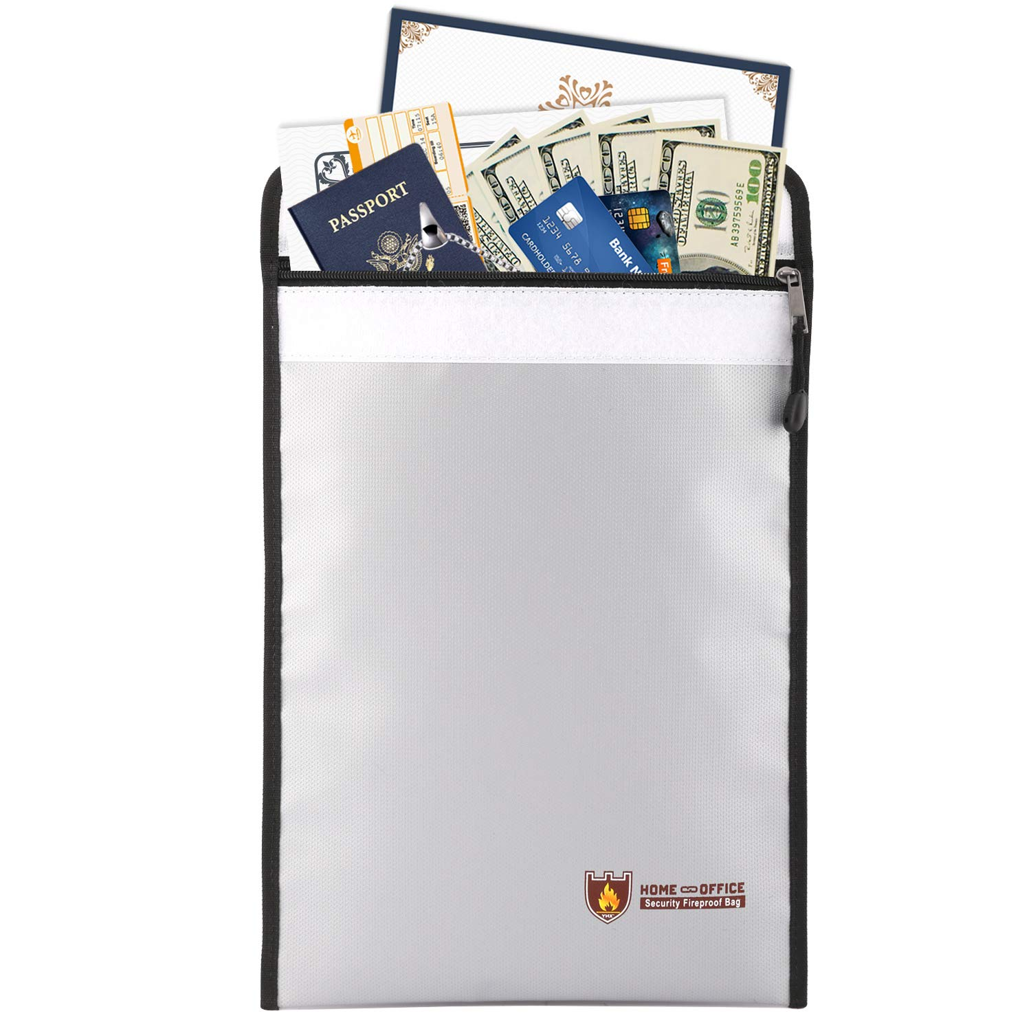 Fireproof Money & Document Bag, MoKo Fire & Water Resistant Large Cash & Envelope Holder with Handle, Protect Your Valuables, Documents, Money, Jewelry, Zipper Closure for Maximum Protection, Black FBD-003