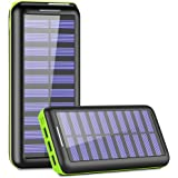 Solar Charger,KEDRON 24000mAh Portable Charger Power Bank with Dual Input Port and 3 USB Output External Battery Pack for iPhone, iPad, Samsung Galaxy, Android Phones and Other Devices(Green)