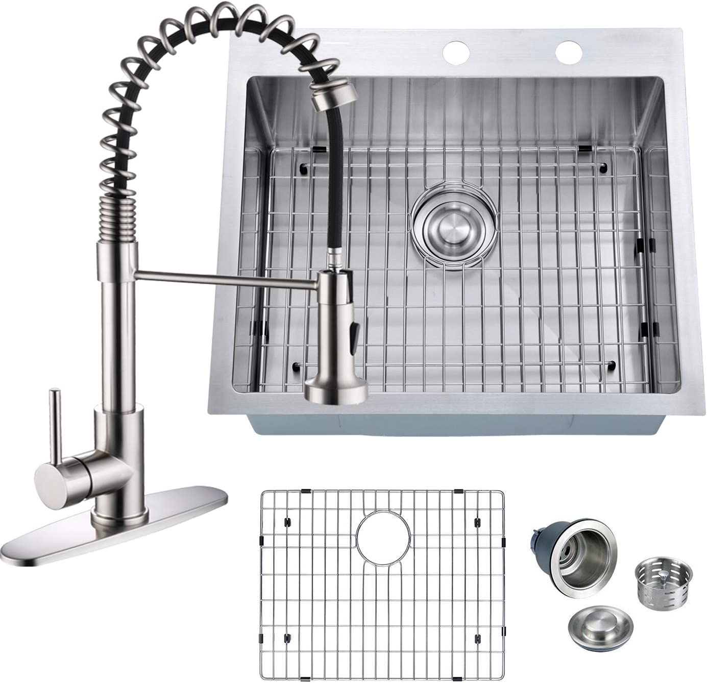 PRIMART 25 x 22 Inch Handmade Topmount 16 Gauge Stainless Steel Single Bowl Kitchen Sinks Drop-in With 2 Faucet Hole,Bottom Grid,Drainer Pull Down Kitchen Faucet