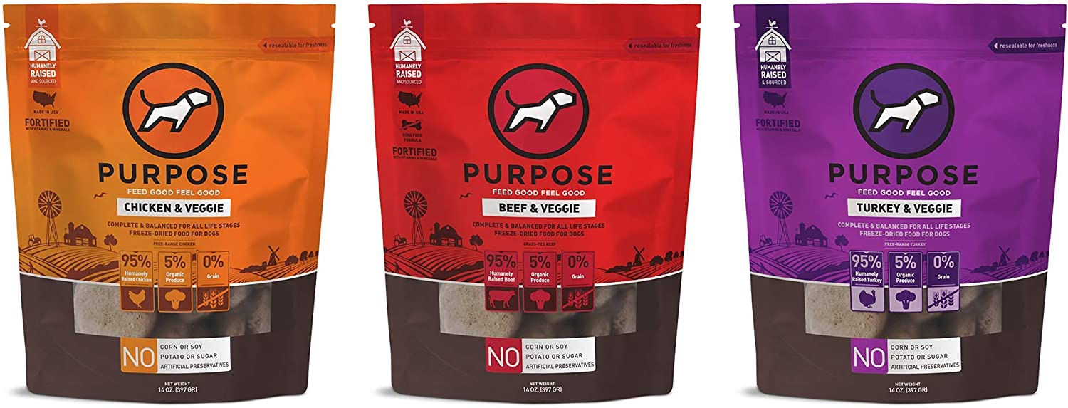Purpose Freeze Dried Dog Food Variety Pack Turkey, Beef, Chicken 14 oz. | Made in The USA