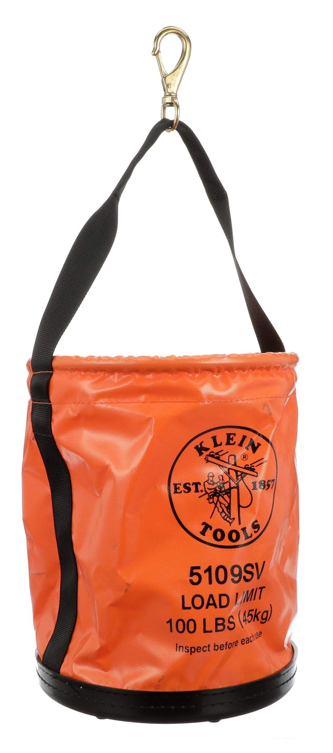 Tool Bucket, Vinyl Lineman Bucket with Swivel Snap and Web Handle, 12-Inch, 100-Pound Load Rated Tool Holder Klein Tools 5109SV by Klein Tools (Image #8)
