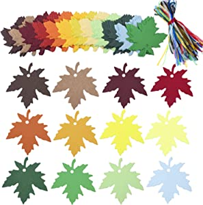 Livder 120 Pieces Leaves Gift Tags, Autumn Thank You Cards Blank Kraft Paper Sign Labels with Organza Ribbons, 12 Colors