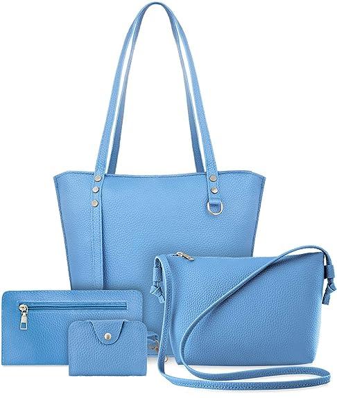 cb019a8efdcea Unbekannt Damen Taschen Set 4 in 1 Shopperbag Schultertasche Kosmetiktasche  Karten- Etui blau