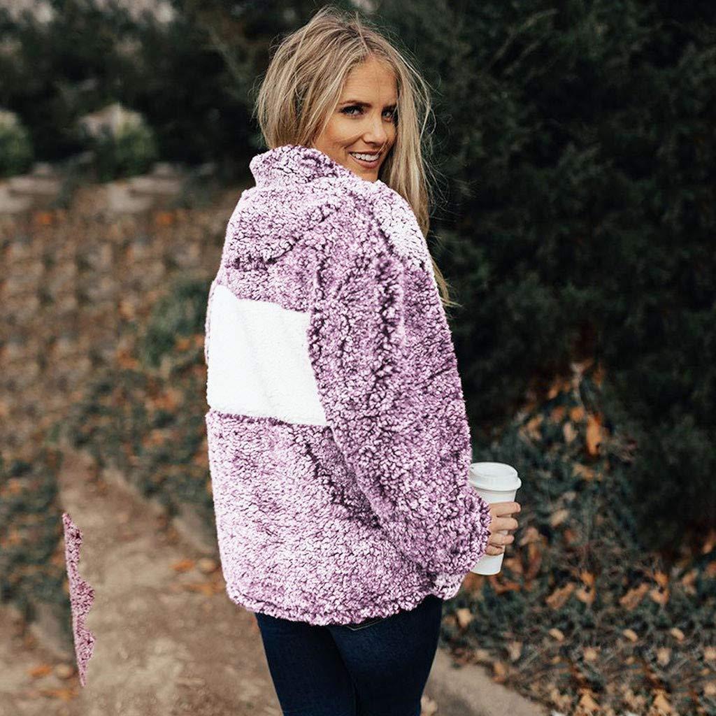 PAQOZ Womens Ladies Artificial Wool T-Shirt Blouses Tops Sweatshirt