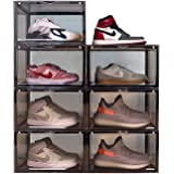 AOTENG STAR Storage Shoes Box Clear Grey Shoes Boxes Sneaker Side Open Door with Magnetic Stackable Foldable Storage Shoe Box