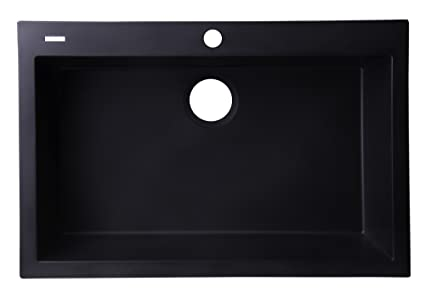Alfi Brand Ab3020di Bla Drop In Single Bowl Granite Composite Kitchen Sink 30 Black