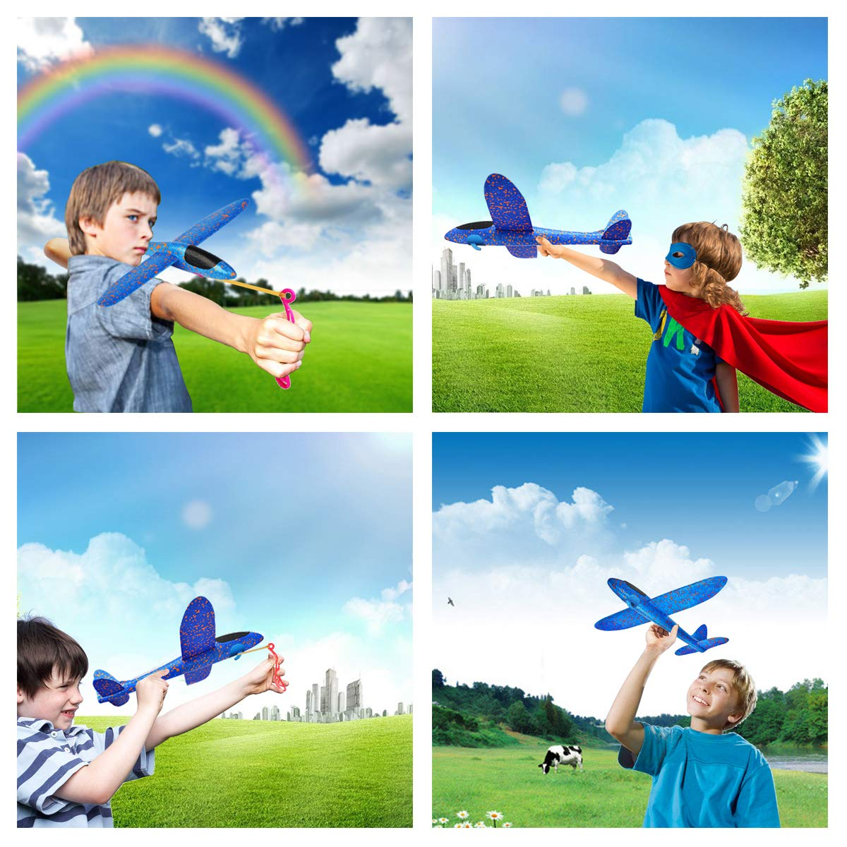 MIMIDOU 4 Pcs Catapult Slingshot Plane 2 Flight Mode Glider Airplane 2 Ways to Play Outdoor Flying Toy for Kids as Gift. by MIMIDOU (Image #9)