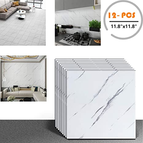 Amazon Com Veelike 12 Pcs 11 8 X11 8 Marble Floor Tiles Vinyl Flooring Peel And Stick White Backsplash Tile For Kitchen Waterproof Adhesive Tile Stickers Decals For Bathroom Wall Decor Arts Crafts Sewing