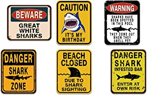 WERNNSAI Shark Zone Party Decorations - 6 PCS Funny Party Wall Decor Signs for Boys Kids Birthday Party Ocean Shark Theme Party Supplies