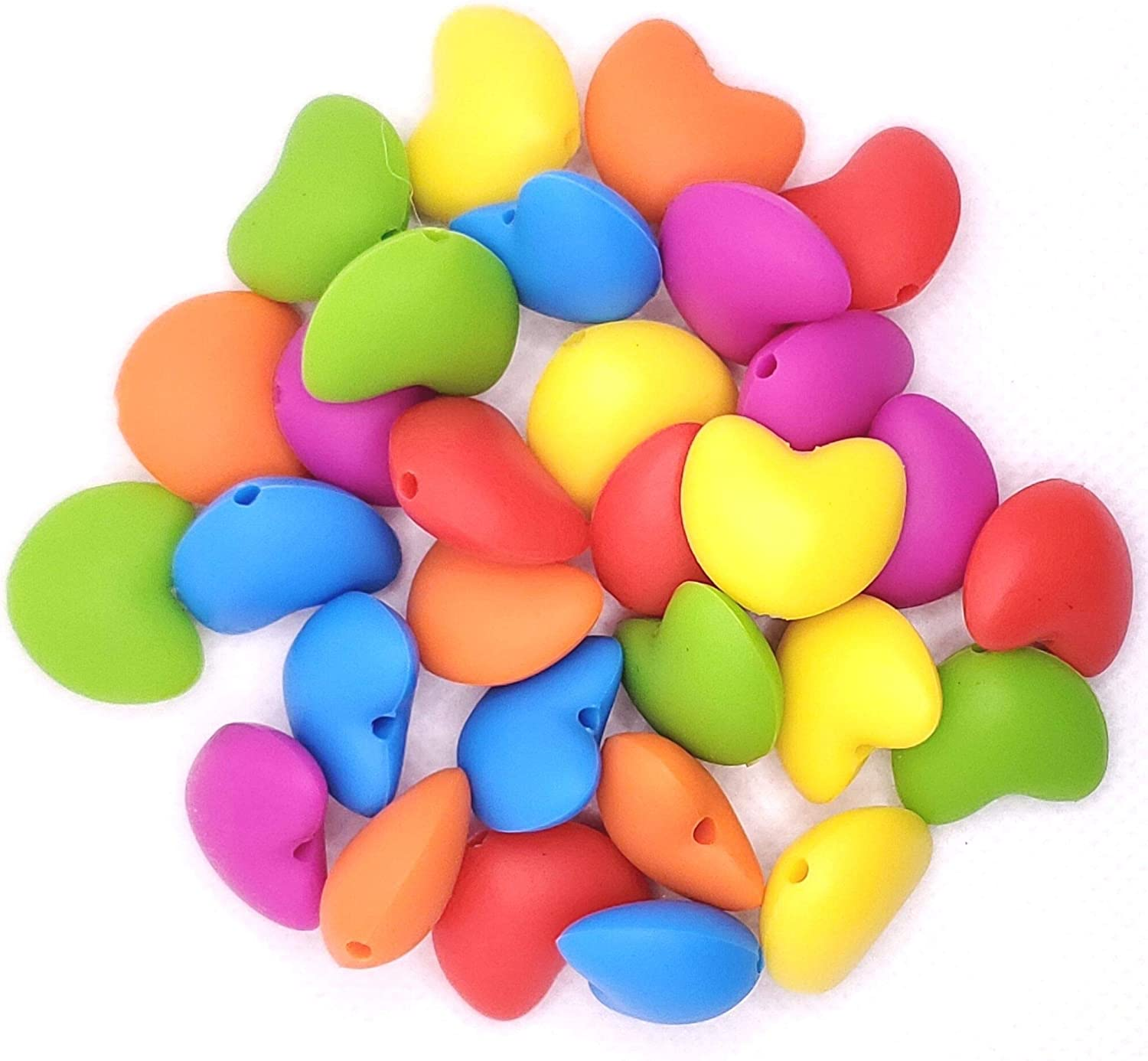 Heart Silicone Beads - Jewelry Necklace Bracelet Making Kit - Food Grade BPA Free Arts and Crafts Supplies (30PC Rainbow)