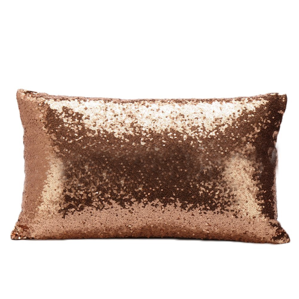 jingyuu 1 Pcs Rectangle Pillowcase Solid Color Print Pillow Cases Sequin for Car Sofa Cafe Bar size 30 * 50CM (Gold)