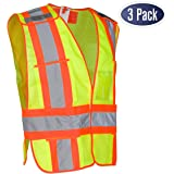High Visibility Safety Vest – ANSI Class 2 Breakaway Vest with 5 Pockets, Yellow with Adjustable Hook and Loop Closure, Hi Vis Breathable Mesh, Heavy Duty Work Wear Unisex, 3 Pack (Medium/Large)