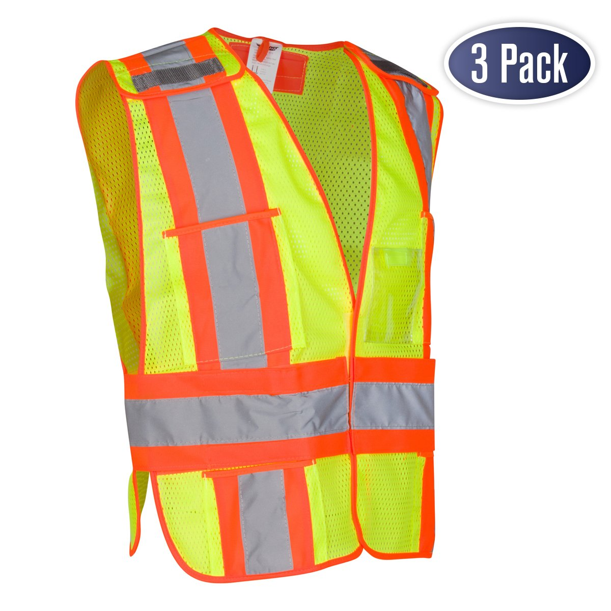 High Visibility Safety Vest - ANSI Class 2 Breakaway Vest with 5 Pockets, Yellow with Adjustable Hook and Loop Closure, Hi Vis Breathable Mesh, Heavy Duty Work Wear for Men or Women, 3 Pack (XL/XXL)