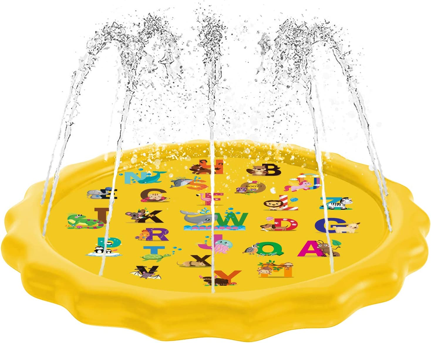 """Aquadoo Sprinkler for Kids, Splash Pad, and Swimming Pool for Kids – Children's Sprinkler Pool, 68'' Inflatable Water Toys """"from A to Z"""" Outdoor Swimming Pool for Babies and Toddlers: Toys & Games"""