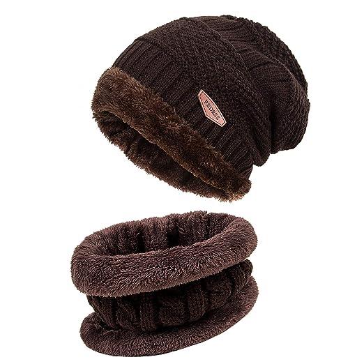 2caaa99d4 REDESS Winter Warm Beanie Knitting Hat Scarf Neck Warmer Set Men Women …