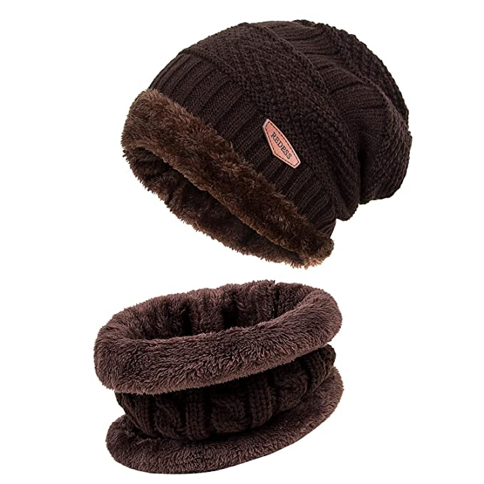 da05b5c92d REDESS Winter Warm Beanie Knitting Hat Scarf Neck Warmer Set for Men and  Women, Warm Fleece Lined Wool Baggy Slouchy Thick Ski Skull Cap(Brown) at  Amazon ...