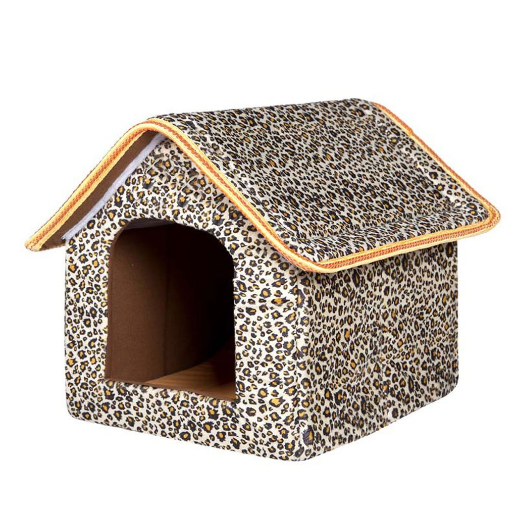 Leopard MGHMM Pet Bed Plush Dog House Four Seasons Universal Soft And Comfortable Cool Breathable Nonslip Durable Multicolor Optional Pet bed (color   bluee, Size   M)