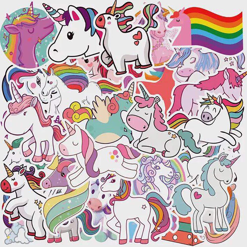 Stickers Calcos 50 un. Unicornio Origen U.S.A. (7RFHCKGS)