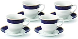 Lorren Home Trends Midnight-4 Cups and Saucers, One Size, Blue
