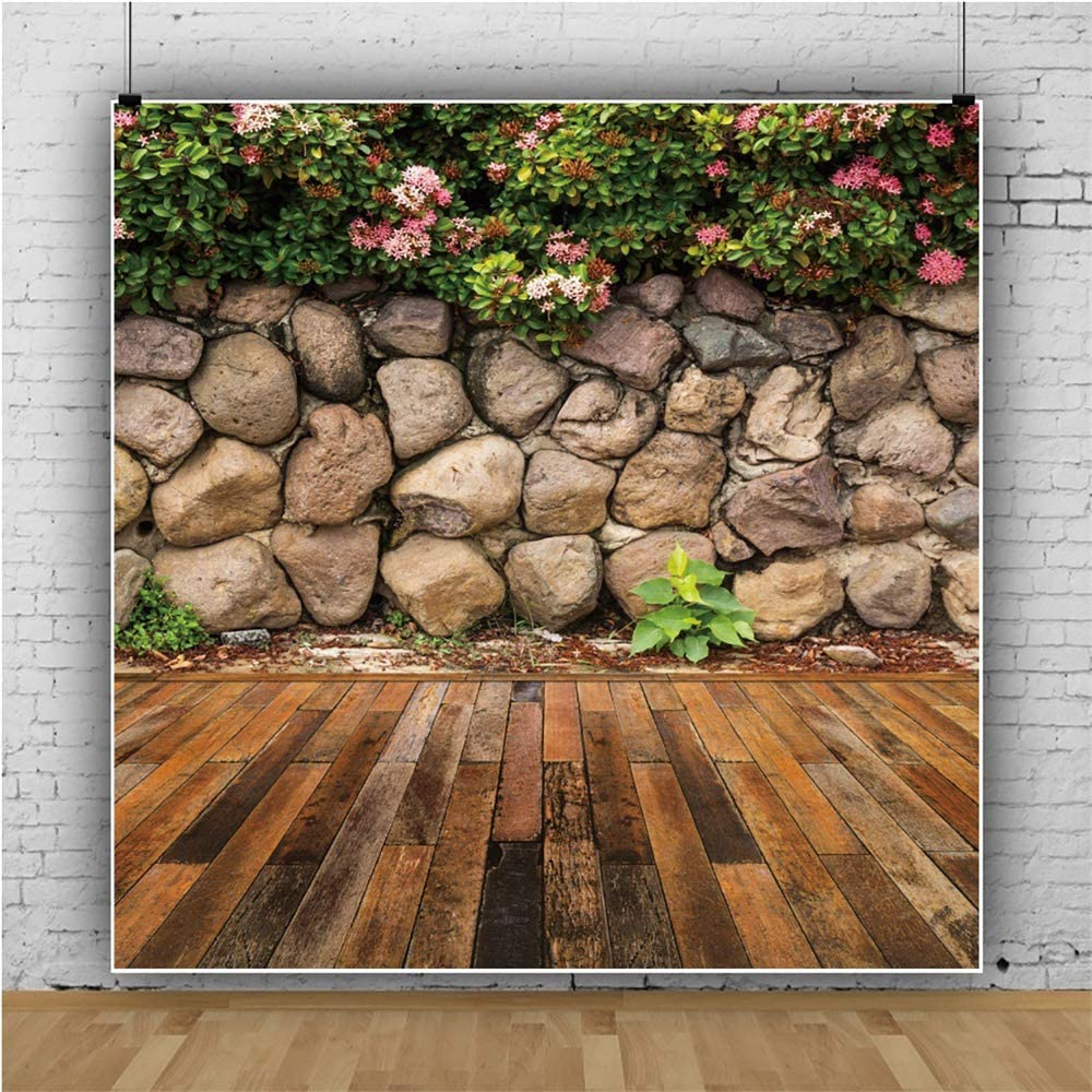 YEELE Garden Courtyard Wall Backdrop Wooden Decking with Stone Wall Photography Background 10x10ft Wedding Events Portrait YouTube Live Photo Booth Shooting Vinyl Cloth Studio Props