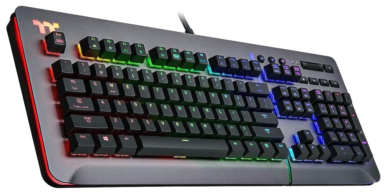 Thermaltake Level 20 RGB Titanium Aluminum Gaming Keyboard Cherry MX Blue Switches, 16.8M Color RGB, 32 Color Zone Options, Alexa Voice Control Razer Chroma Sync Compatible, KB-LVT-BLSRUS-01