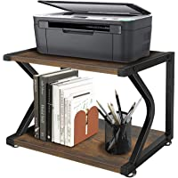 Unistyle Vintage Printer Stand with Wood Storage Shelves, Rustic 2 Tier Printer Table, Home Printer Stand with…