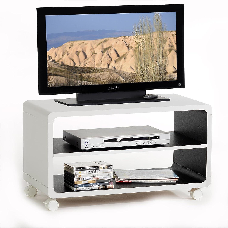 Meuble Tv Tag Res Miami Panneau De Bois Blanc Noir Amazon Fr  # Etagere Meuble Tv