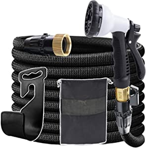 Garden Hose Expandable Collapsible Car Water Hose, Super Durable 3750D & 4-Layers Strong Latex High-Pressure for Water Hose for Watering Garden, Cleaning Car, Washing Pet. (75FT Black)