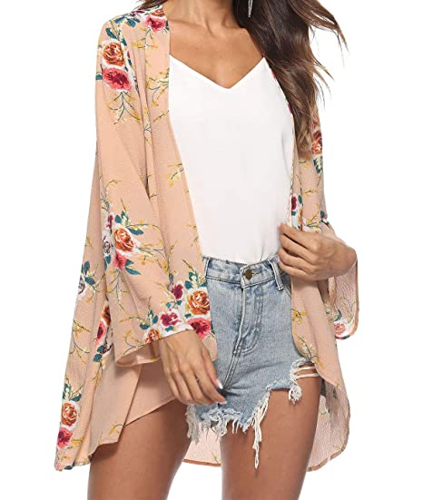 702ee67217 Hanlolo Women Ladies Summer Kimono Cardigan Blouse Tops Print Floral  Beachwear Beige M