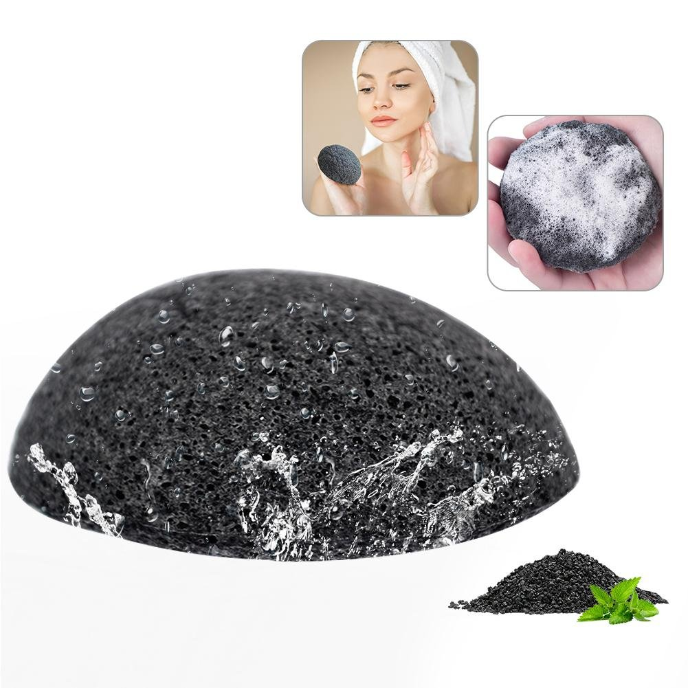 Konjac Sponge, Face Loofah Made of Hot Natural Konjac Fiber Bamboo charcoal of Face Wash Cleaning Puff Exfoliator and Skin Oil Control Brrnoo