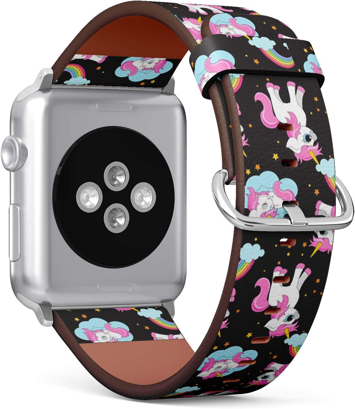 Compatible with Apple Watch Series 5, 4, 3, 2, 1 (Small Version 38/40 mm) Leather Wristband Bracelet Replacement Accessory Band + Adapters - Cute Unicorns Magical