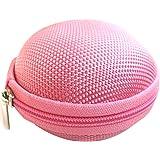 Nueva moda portátil Mini Ronda duro de almacenamiento caso de la bolsa para auriculares de oído-Rosa