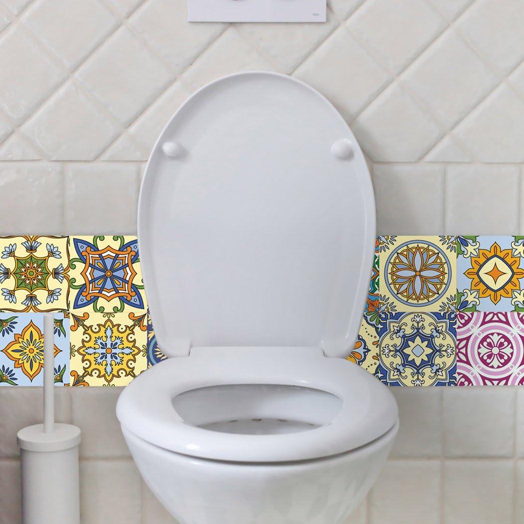 Decorative Tiles Stickers Motril Tile Decals Art for Walls Kitchen backsplash Bathroom Pack of 16 Tiles 2 x 2 inches