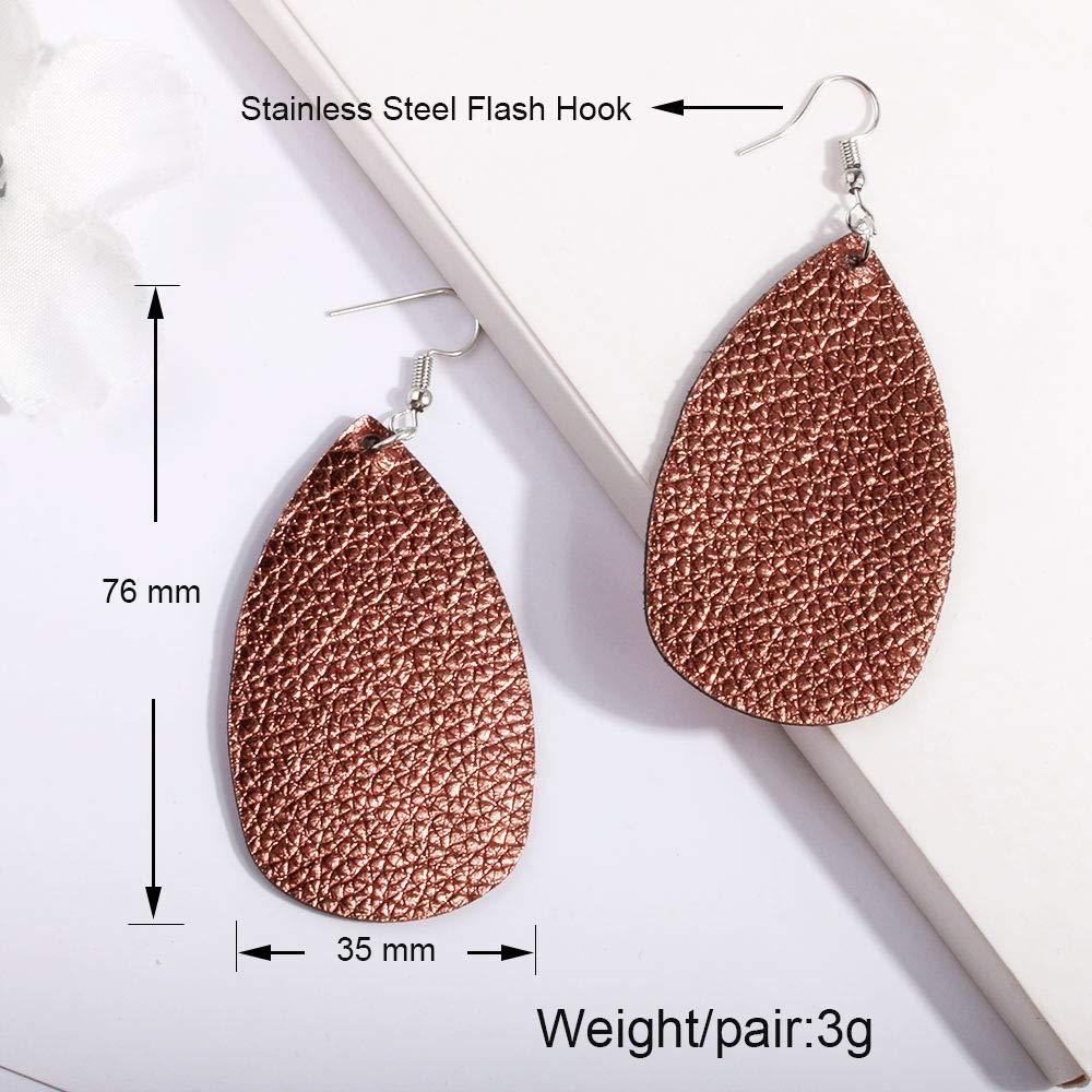 Leather Earrings Lightweight Faux Leather Leaf Earrings Teardrop Dangle for Women 10 Pairs Christmas Earrings
