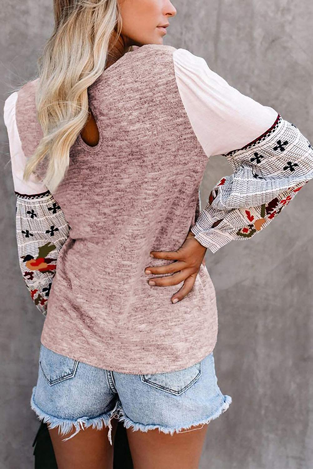 GOLDPKF Printed Long Sleeve Sweatshirts T Shirts for Women Casual Pullover Tops