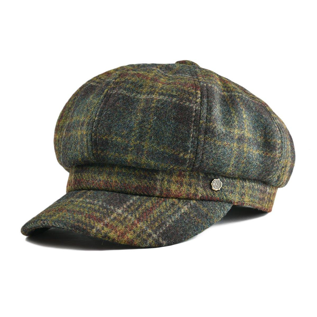 VOBOOM Womens Visor Beret Newsboy Hat Cap for Ladies 100% Wool Tweed (Green)