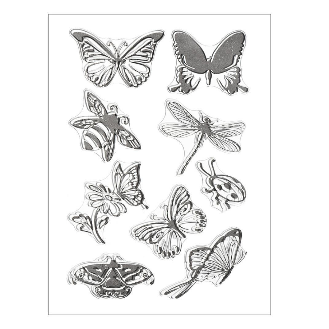 Transer Silicone Butterfly Flower Embossing Folder Template DIY Card Scrapbooking Decor D, Black