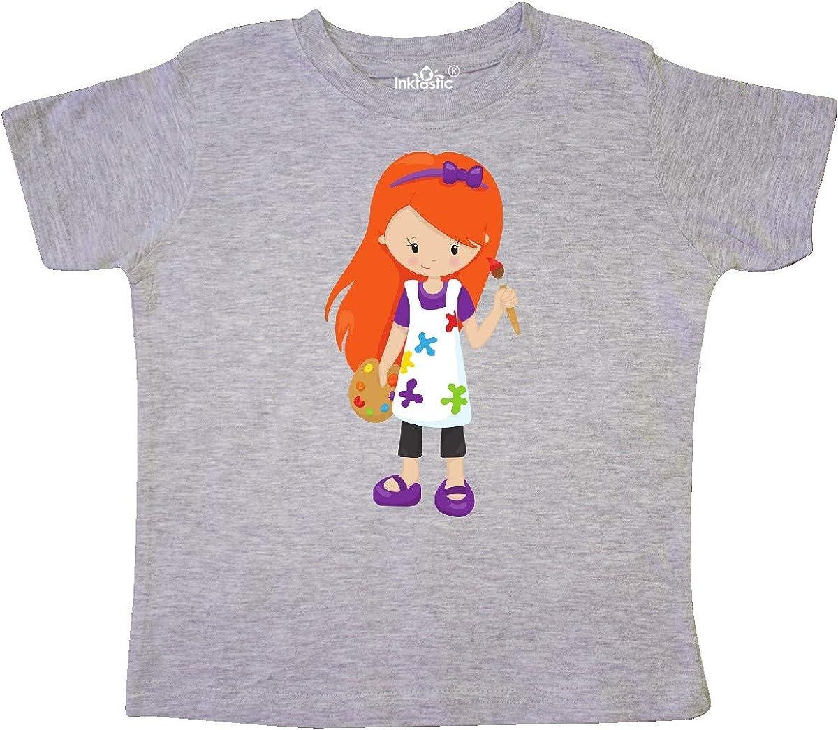 Painter Orange Hair Paint Artist Toddler T-Shirt inktastic Cute Girl