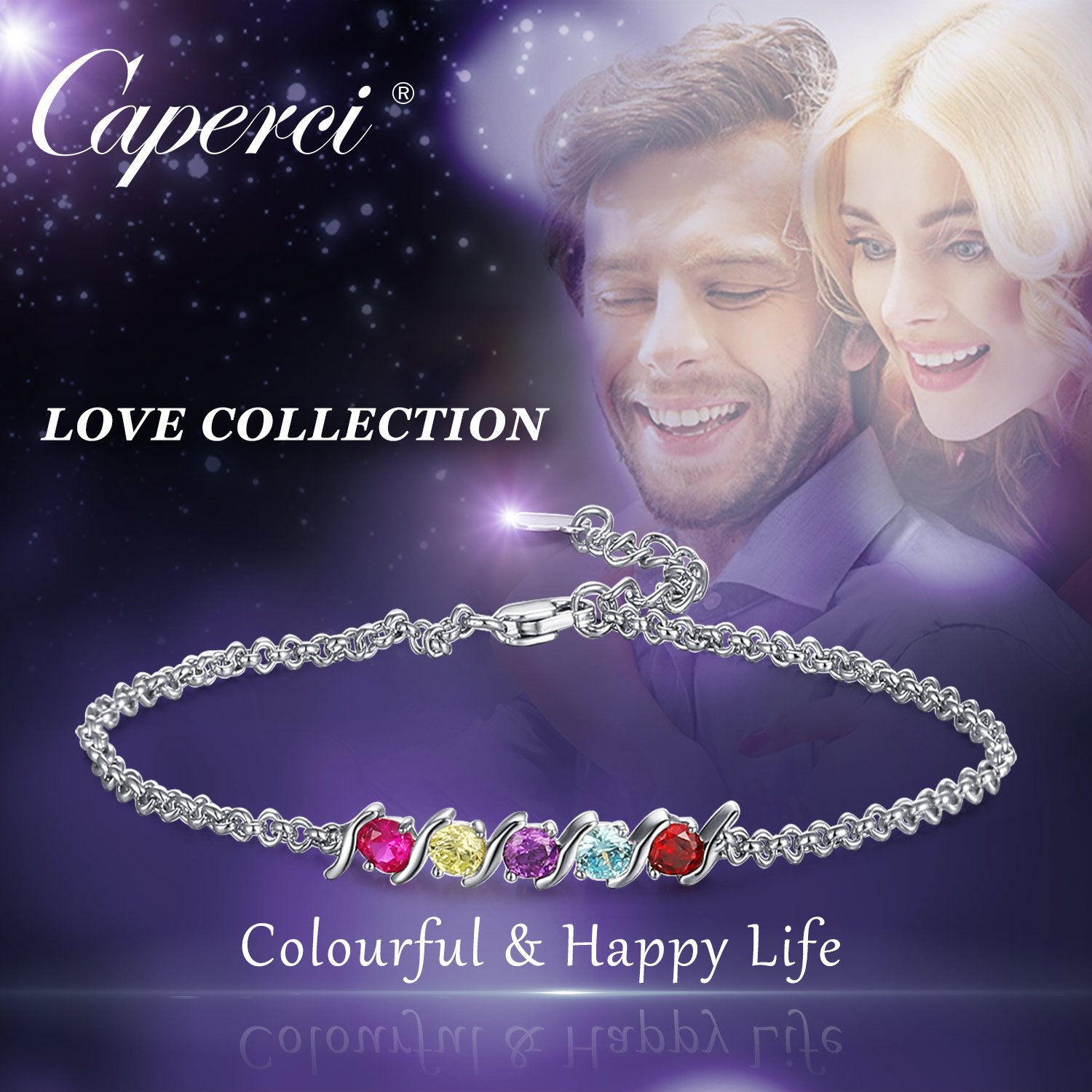Caperci 925 Sterling Silver Round Shaped Multi-Gemstones Adjustable Link Tennis Bracelet for Women by Caperci (Image #4)