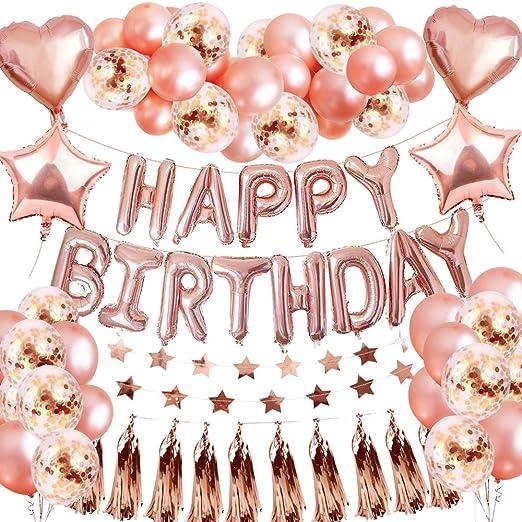 Set de decoraciones para fiestas de globos de cumpleaños de oro rosa, SPECOOL Suministro de fiesta de 46 piezas Con oropel metálico Pancarta con forma ...