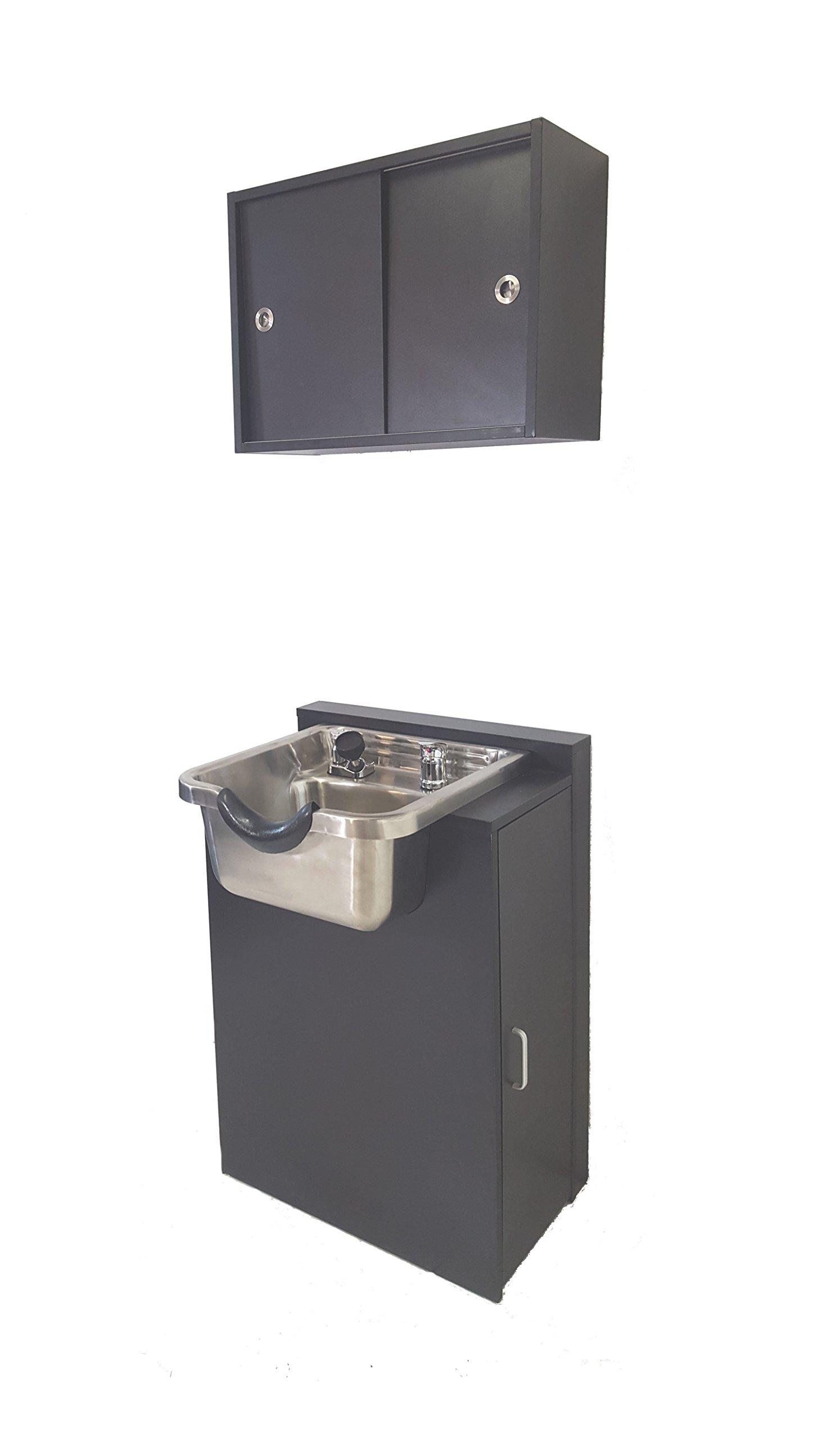Stainless Steel Brushed Shampoo Bowl Floor & Towel Cabinet Package