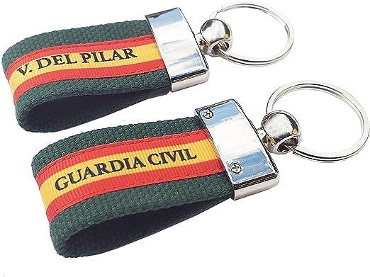 LGP - Pack de 2 Llaveros de ESPAÑA de Lona Verde, Grabación Guardia Civil y Grabación Virgen del Pilar: Amazon.es: Equipaje
