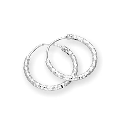 T400 Jewelers 925 Sterling Silver Diamond Cut sleeper Hoop Earrings,Size:25-65mm