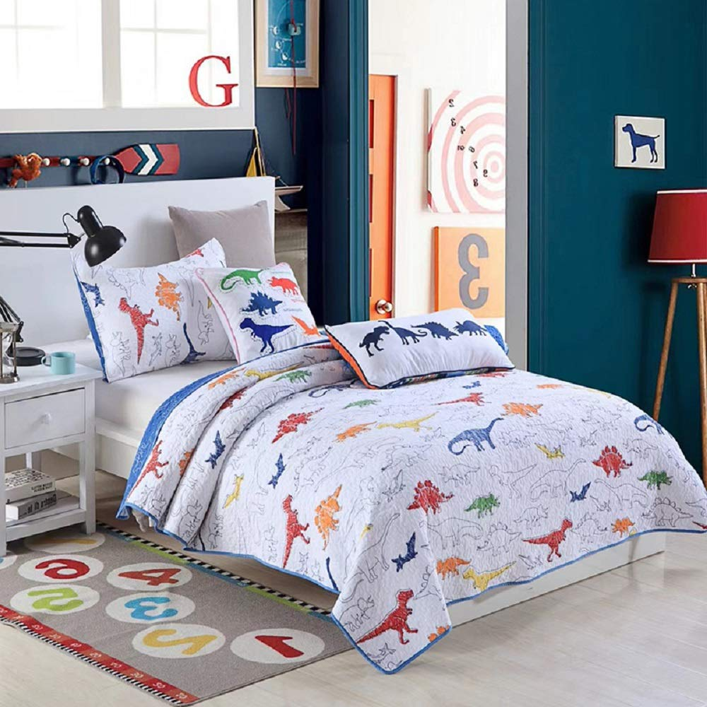 Jax & Olivia Cozy Bedspread White Quilt and Colorful Dinosaurs Blue White Red Green Twin Bedding Quilt Set Reversible Blue & White Dino Twin Bedspread & Pillow Sham - Boys Room Decor, Dino Decor by Jax & Olivia