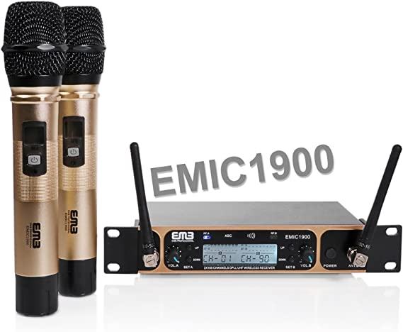 EMB Professional EMIC1900 UHF Dual 2x Wireless Microphone System For Stage//DJ Performance//Meeting//Show//Party//Karaoke//Teaching//Presentation