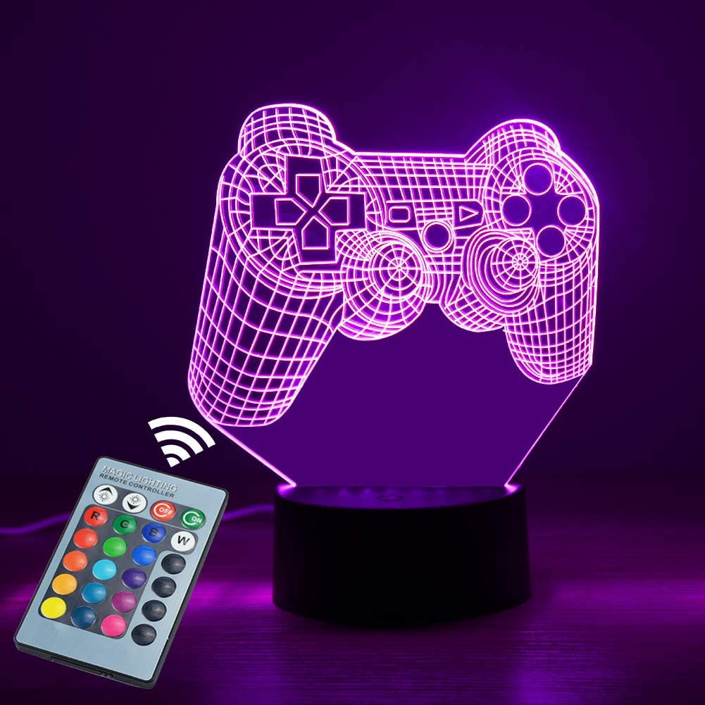 CNSUNWAY 3D Night Light for Boys, 3D Led Lamp for Boy 16 Colors Change led Night Light with Remote Control, 3D Light with Soft Light, 3D Gamepad Night Light Christmas Birthday Gift