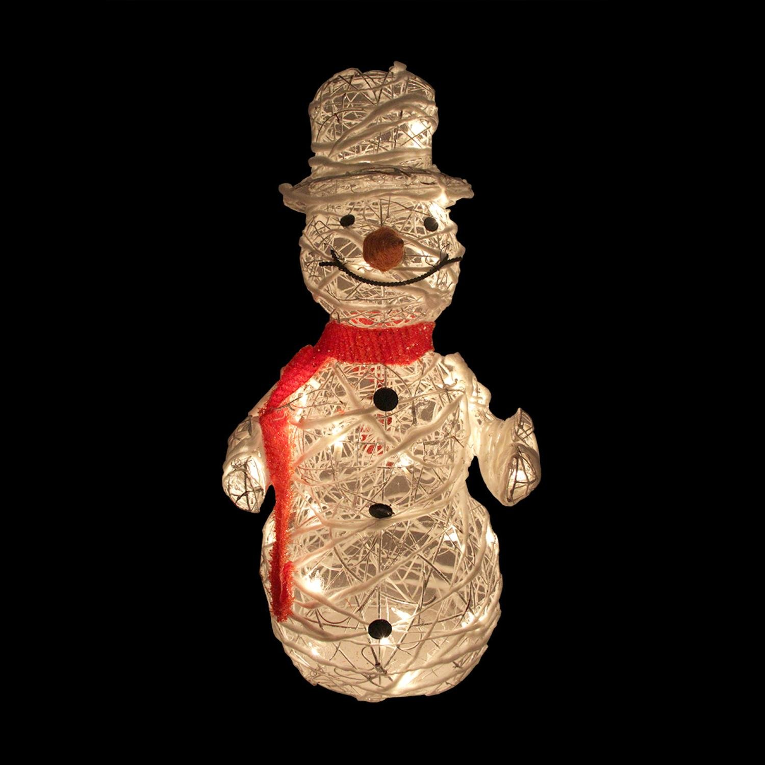 outdoor snowman Christmas decorations rattan design with silver glitter detail pre-lit with 35 lights