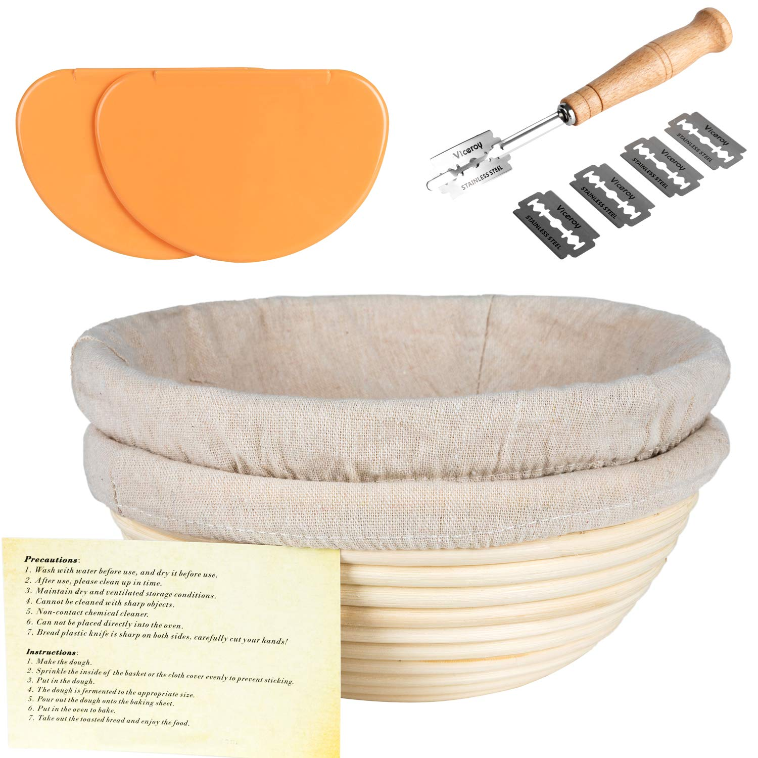 Jillmo 9 inch 2 Pack Bread Proofing Basket Set Sourdough Banneton Baking Proofed Kit With Bread Lame, Sough Scraper and Linen Liner Cloth
